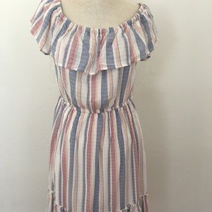 Striped Off Shoulder Ruffle Dress